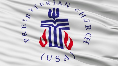 Presbyterian Religious Close Up Waving Flag - stock footage