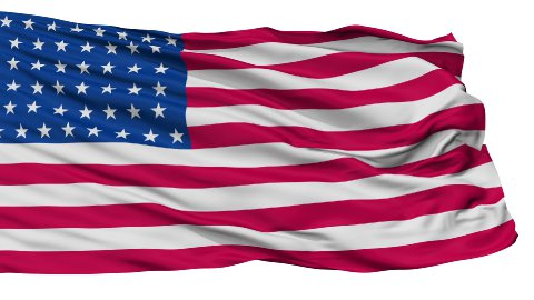 44 Stars USA Isolated Waving Flag - stock footage