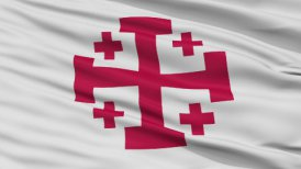 Jerusalem Cross Religious Close Up Waving Flag