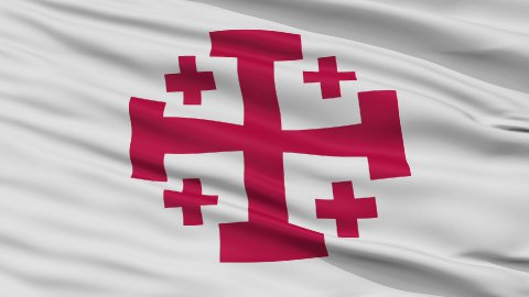 Jerusalem Cross Religious Close Up Waving Flag - stock footage