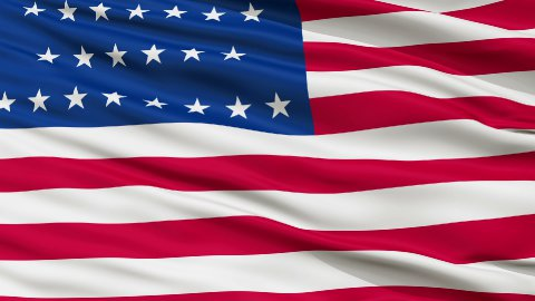 29 Stars USA Close Up Waving Flag - stock footage