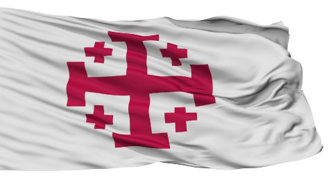 Jerusalem Cross Religious Isolated Waving Flag - stock footage