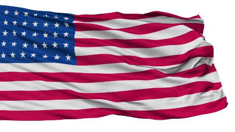35 Stars USA Isolated Waving Flag - stock footage