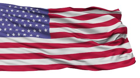 55 Stars USA Isolated Waving Flag - stock footage