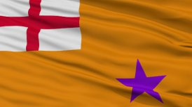 Orange Order Religious Close Up Waving Flag - editable clip, motion graphic, stock footage