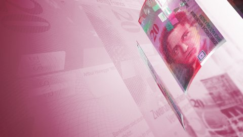 Cash Money Background Close-Up Rotation. 20 Swiss Francs LOOP. - stock footage