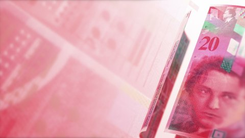 CHF Money Banknotes Rotating Background Loop. - stock footage