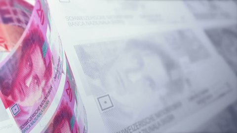 Swiss Francs Looped Motion Money Background. Depth of Field. - stock footage
