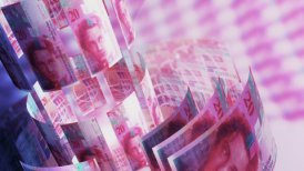 CHF Money Banknotes Rotating Background Loop with Copy Space.
