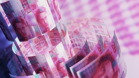 CHF Money Banknotes Rotating Background Loop with Copy Space. - stock footage