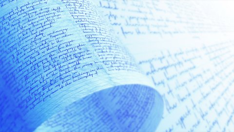 Handwritten letter with undefined text. English words - not readable. - stock footage