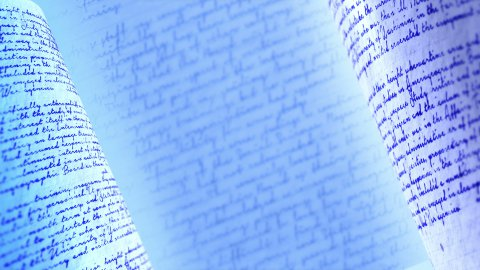 Calligraphic handwritten notes. Blue background loop. - stock footage