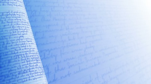 Close up of handwritten letter. Blue background loop. - stock footage
