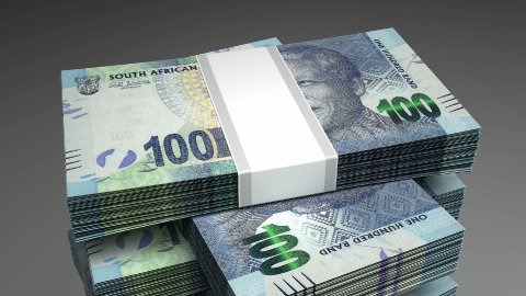 Stack of South African Rands - stock footage