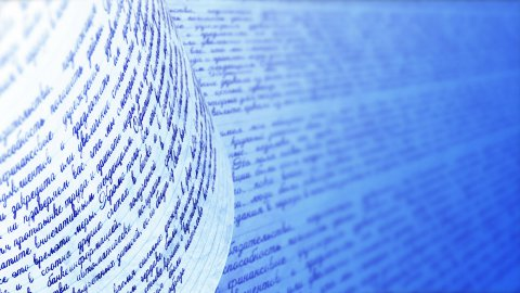 Russian Handwriting, seamless loop. Blue background with copy space. - stock footage