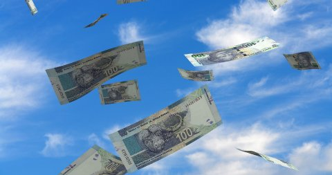 Falling South African Rands - stock footage