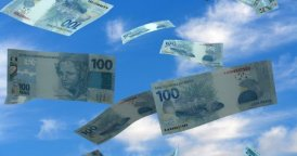 Falling Brazilian Real - editable clip, motion graphic, stock footage