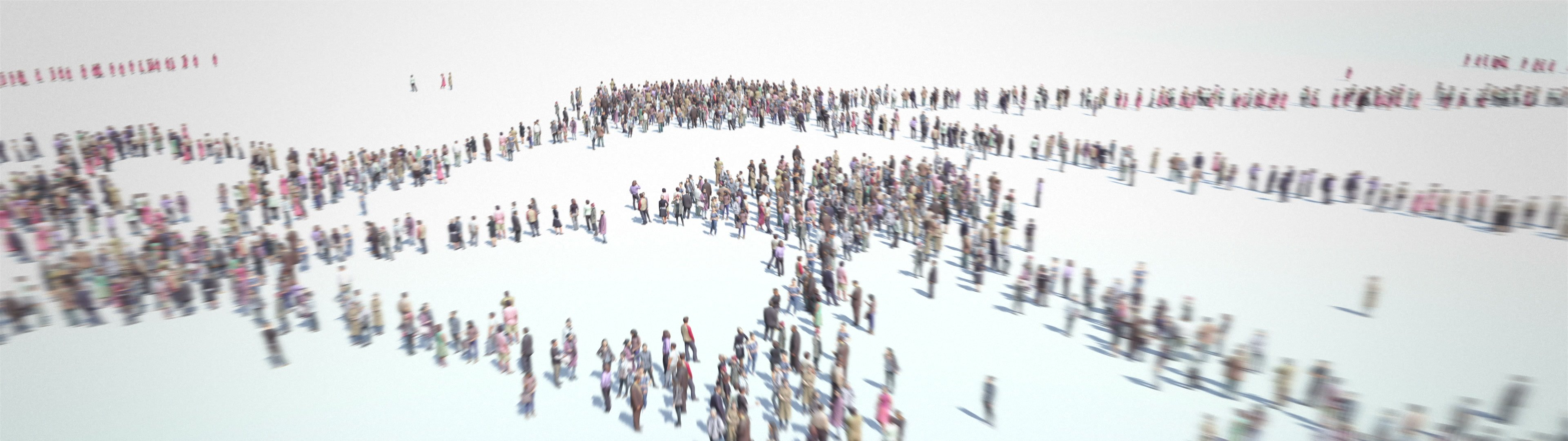 Social Network. Groups and connections between people. | Social Network. Thousands of people formed groups and connections. Camera zoom out. 4k. - ID:24456