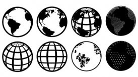 Globe Icons set, loop - motion graphic