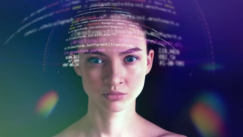 Young Woman is Reading Computer Code from Holographic Futuristic Screen - stock footage