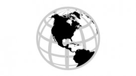 Globe Icon 360 - View of the Northern Hemisphere. Parallels and Meridians. - motion graphic
