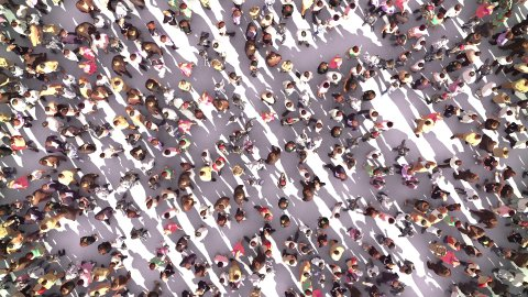 Large Anonymous Crowd Zoom Out - stock footage