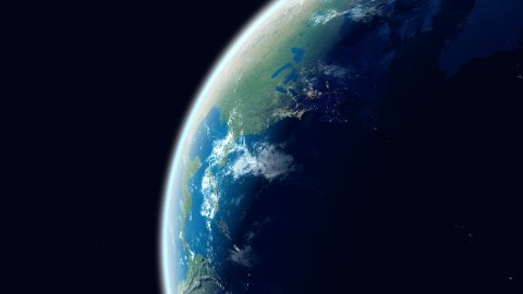 Realistic Earth. Globe with night lights. Northern hemisphere close up. - stock footage