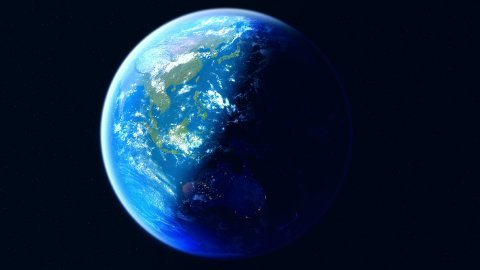 Realistic Earth. Slowly rotating Globe with night lights. Equator view. - stock footage