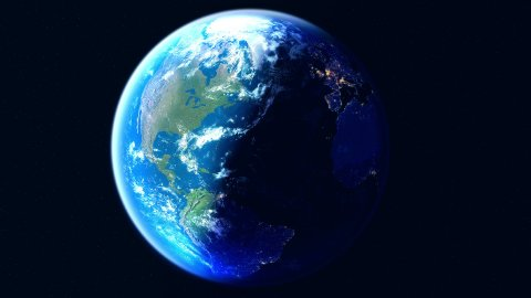 Realistic Earth. Globe with night lights. Northern hemisphere view - stock footage