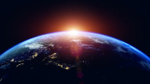 Sunrise Over The Earth. Globe with City Night Lights. Northern Hemisphere. - stock footage
