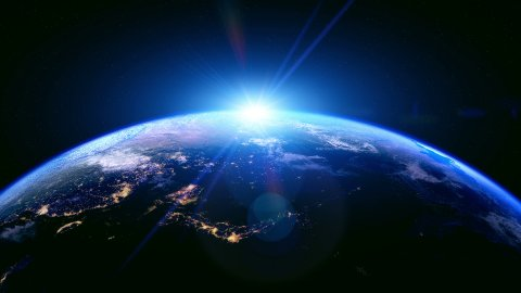 Sunrise Over The Earth. Northern Hemisphere. Globe with City Night Lights. - stock footage