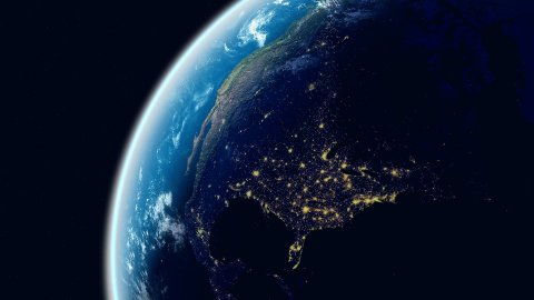 North America View. Realistic Earth. Globe with Night City Lights. - stock footage