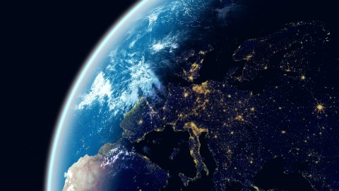 Europe View. Realistic Earth. Globe with Night City Lights. - stock footage