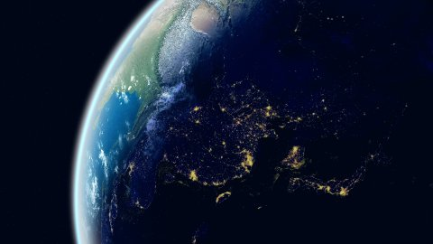 Asia View. Realistic Earth. Globe with Night City Lights. - stock footage