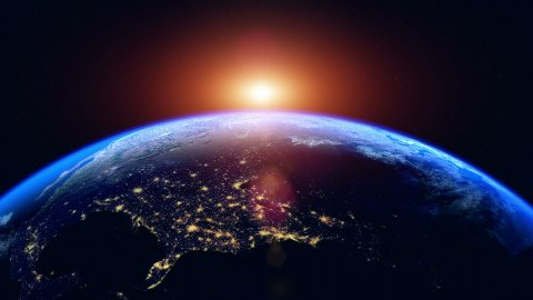 Sunset Over The Earth. Globe with City Night Lights. Northern Hemisphere. - stock footage