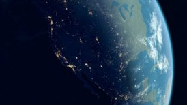 North America View with Zoom to the USA. Globe with Night City Lights.