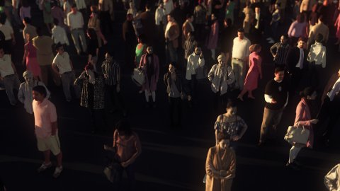 Zoom Out from Single Person to Large Anonymous Crowd of People. - stock footage