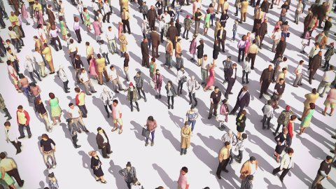 Zoom In from Large Anonymous Crowd of People to Single Person - stock footage
