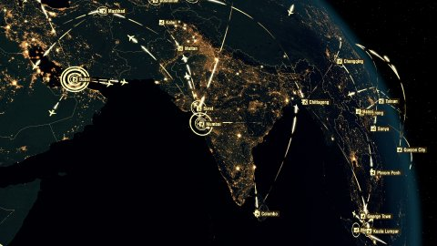 Flight Paths Over Asia, Europe and America. City Lights and Names in English. - stock footage