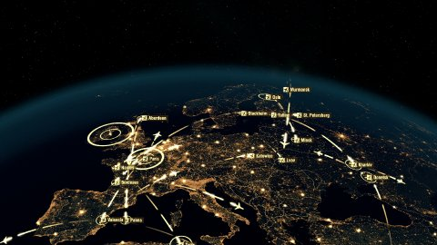 Flight Paths Over Europe. World Airplane Flight Travel Plans Connections. - stock footage