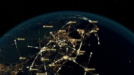 Flight Paths Over Australia and Eastern Asia. City Lights and Names in English.