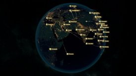 Global Communications - Destinations all over the World. Flight Paths.