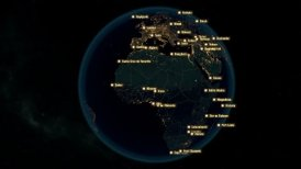 Cities of the World. City Names Appears on the Globe with Night Lights.
