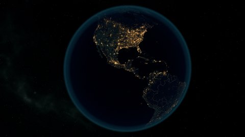 Earth at Night. Stunning Animation Shows Earth Bathed in City Lights at Night. - stock footage