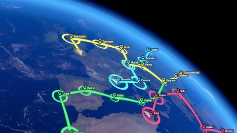 Localization, GPS Navigation, Traveling, Pathfinding all over the World. - stock footage