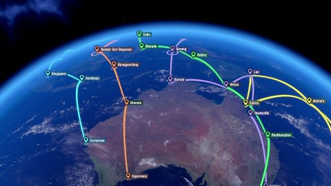 Localization, GPS Navigation, Traveling over Australia and Eastern Asia - stock footage