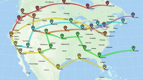 Localization, GPS Navigation, Traveling, Pathfinding over the North America - stock footage