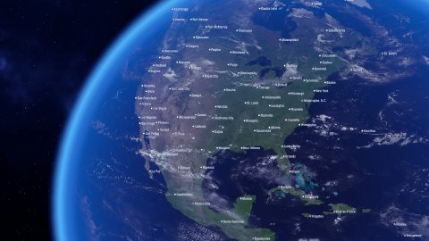 Cities of the North America and Political Borders. City Names on the Earth. - stock footage