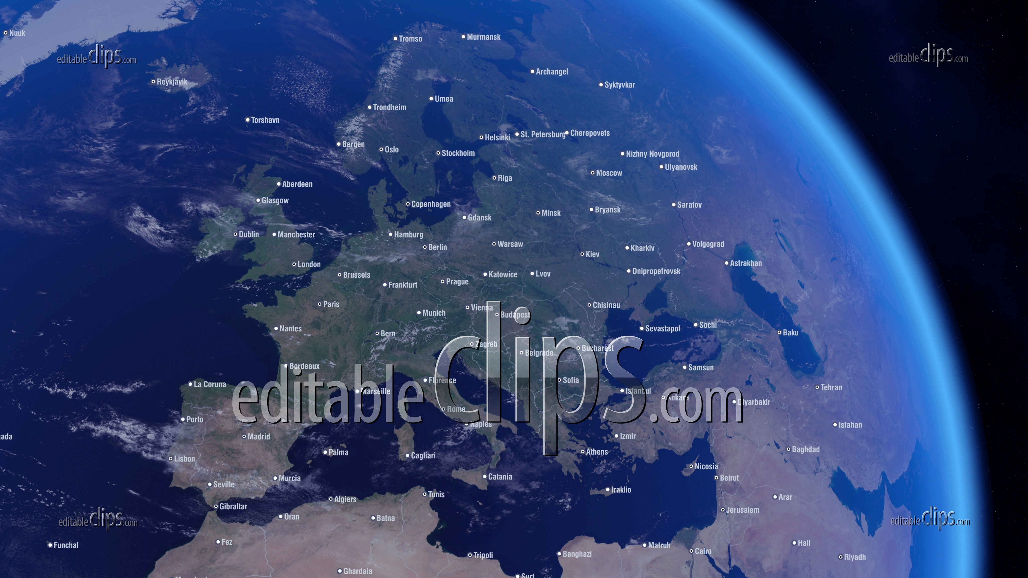 Cities of Europe and Political, 4k - Editable Clips