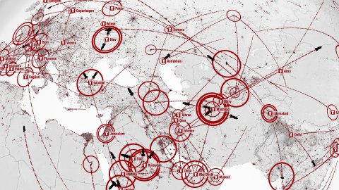 Nuclear Holocaust. Battlefield Maps. War Plans. Bombs fly between Cities. - stock footage